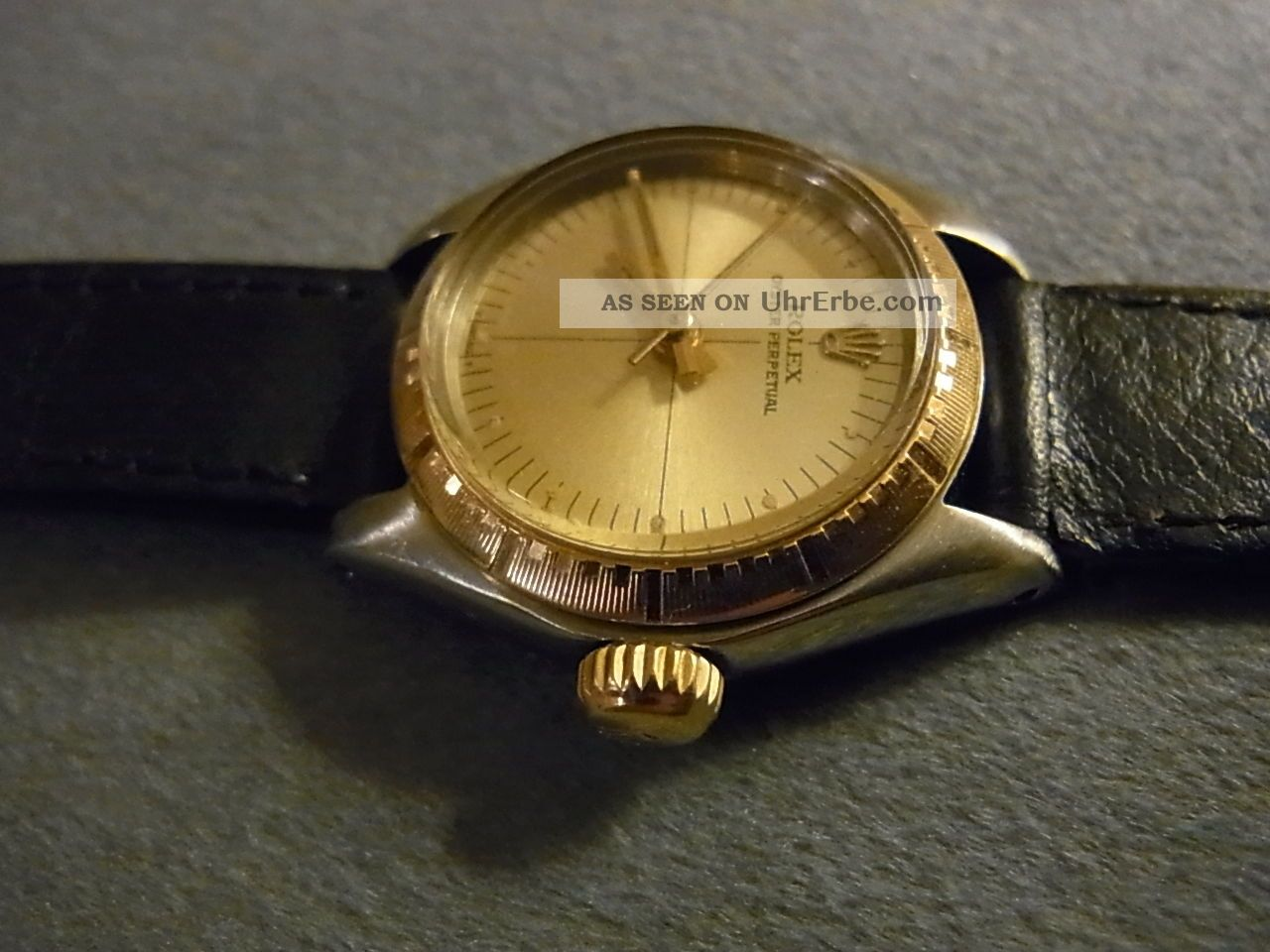 Damenluxusuhr Rolex Modell Oyster Perpetual No Date Stahl/gold, Armbanduhren Bild