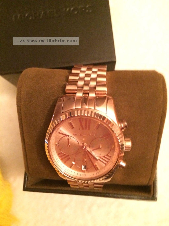 Michael Kors Damen Uhr Mk5569 Chronograph Edelstahl,  Rosegoldfarben Ovp Armbanduhren Bild