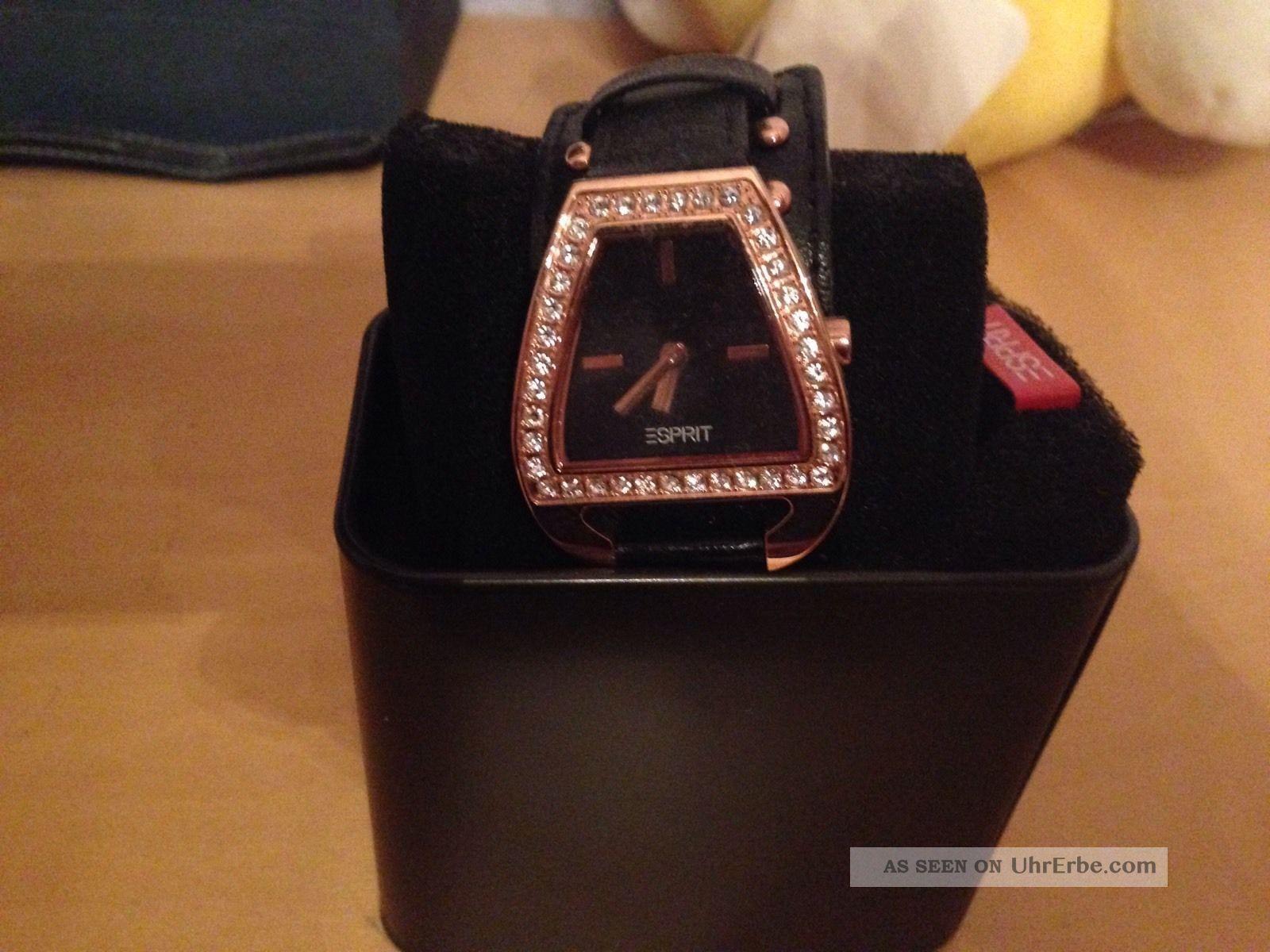 Esprit Damenarmbanduhr,  Strass,  Lederarmband Schwarz,  Neuwertig Armbanduhren Bild