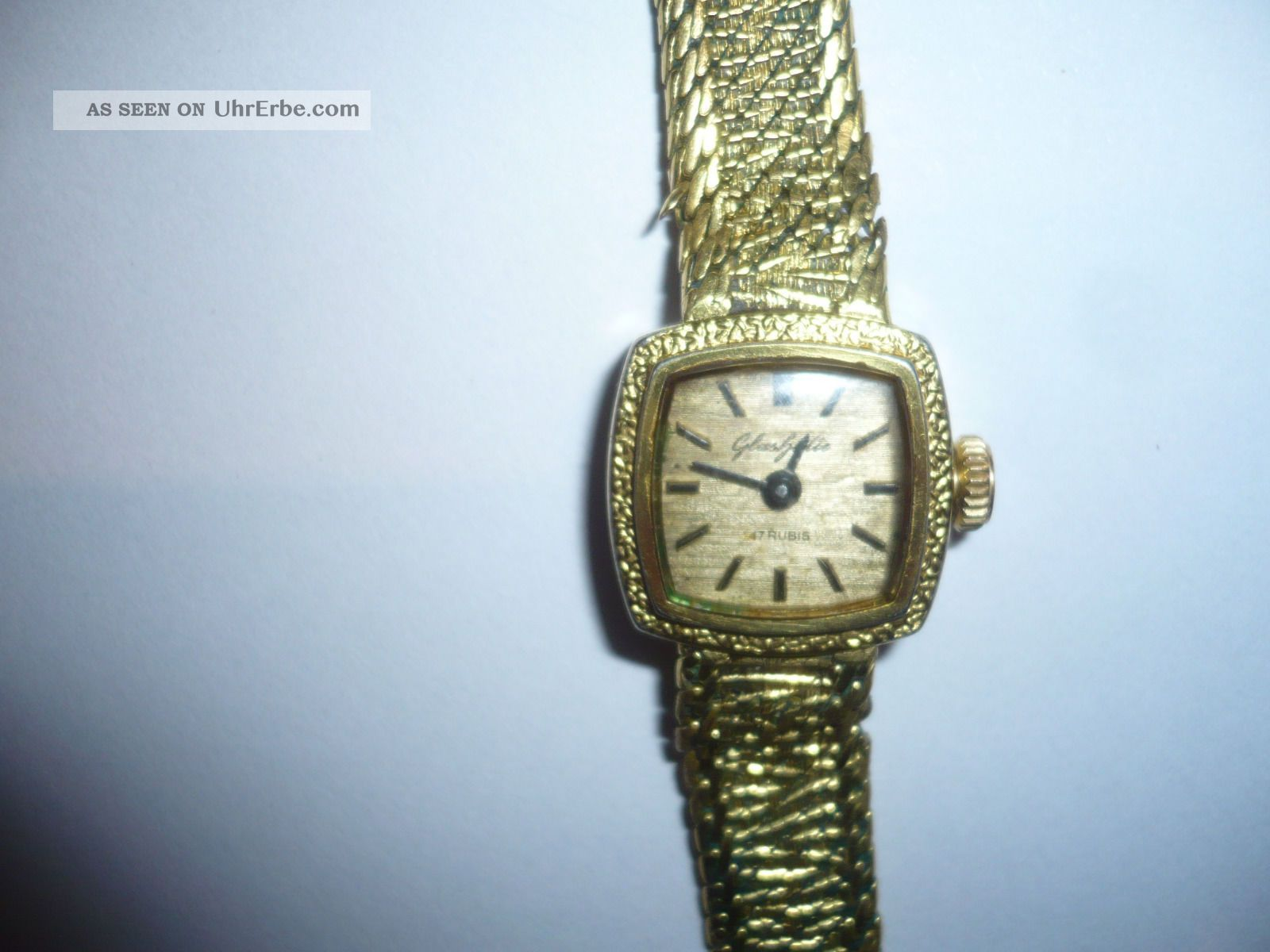 Gub Damen Armband Uhr Glashütte Handaufzug 17 Rubis In Goldoptik Armbanduhren Bild