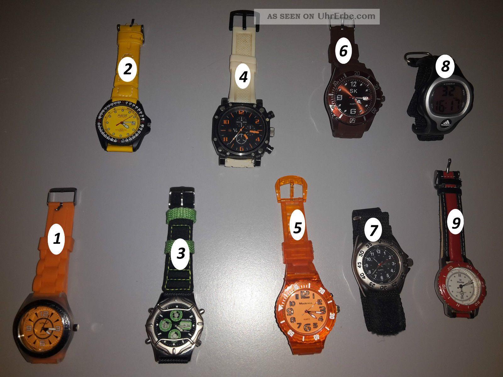 Uhrenpaket Konvolut - 9 Uhren - Adidas - Sharp - Sk - Herren,  Damen - Top Armbanduhren Bild