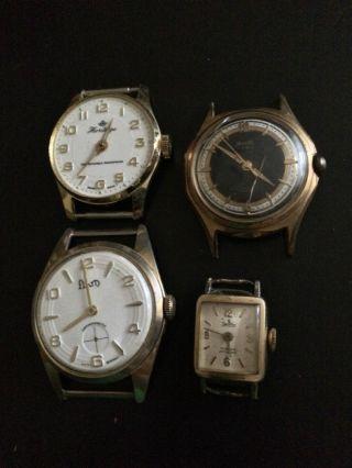 4x Elegante Vintage Armbanduhren Handaufzug - Revista,  Zentra,  Flam,  Heritage Bild