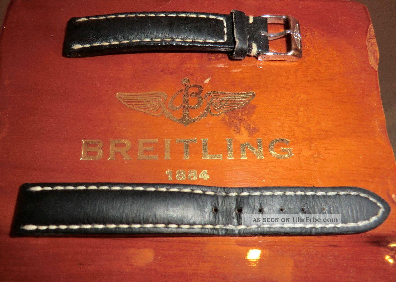Breitling Uhrenarmband Damen 15 - 14 Mit Schließe Dunkelblau Leder Armbanduhren Bild