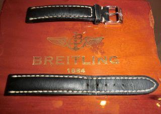 Breitling Uhrenarmband Damen 15 - 14 Mit Schließe Dunkelblau Leder Bild