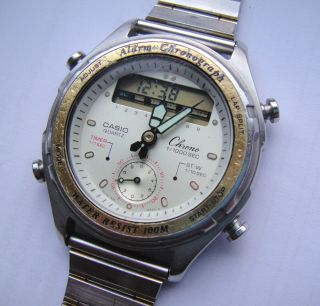 Vtg.  Casio Analog Digital Alarm Chronograph Aw - 600 Japan Bild