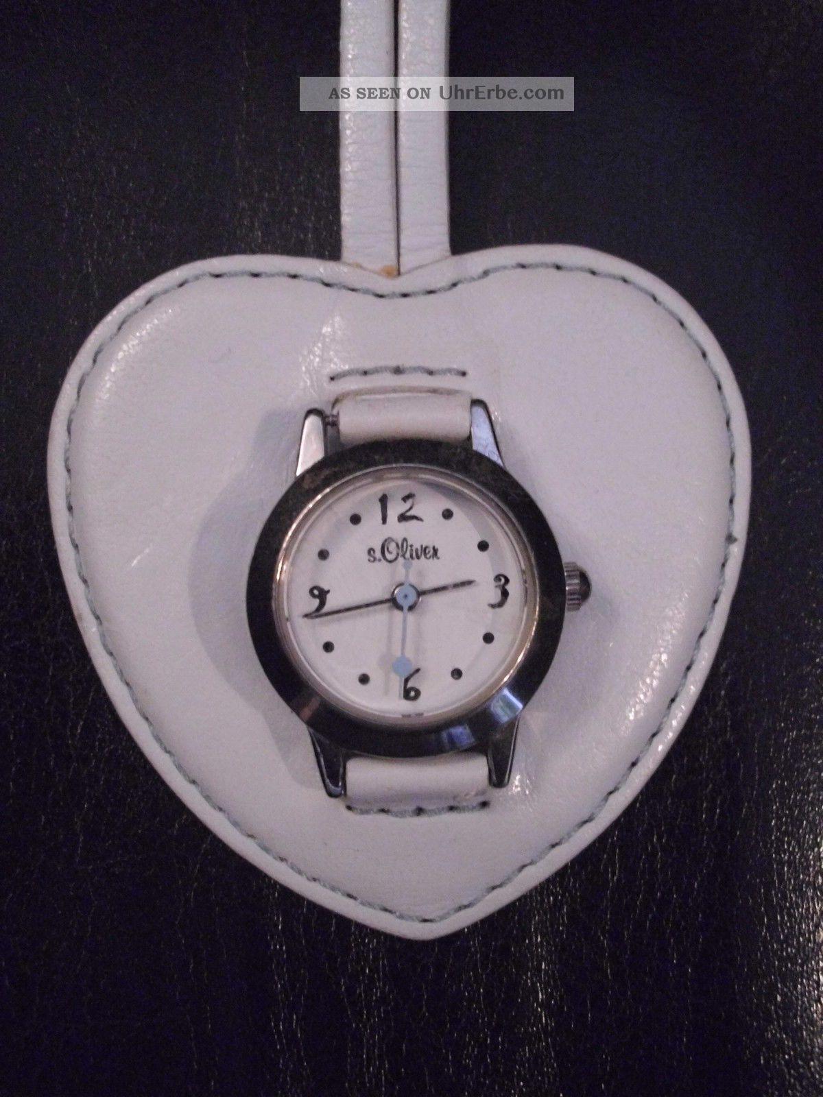 , Wunderschöne S.  Oliver Taschen - Uhr,  Edelstahl Silber,  Herz,  Lederanhänger Armbanduhren Bild