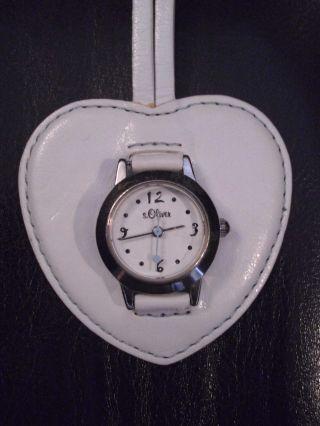 , Wunderschöne S.  Oliver Taschen - Uhr,  Edelstahl Silber,  Herz,  Lederanhänger Bild