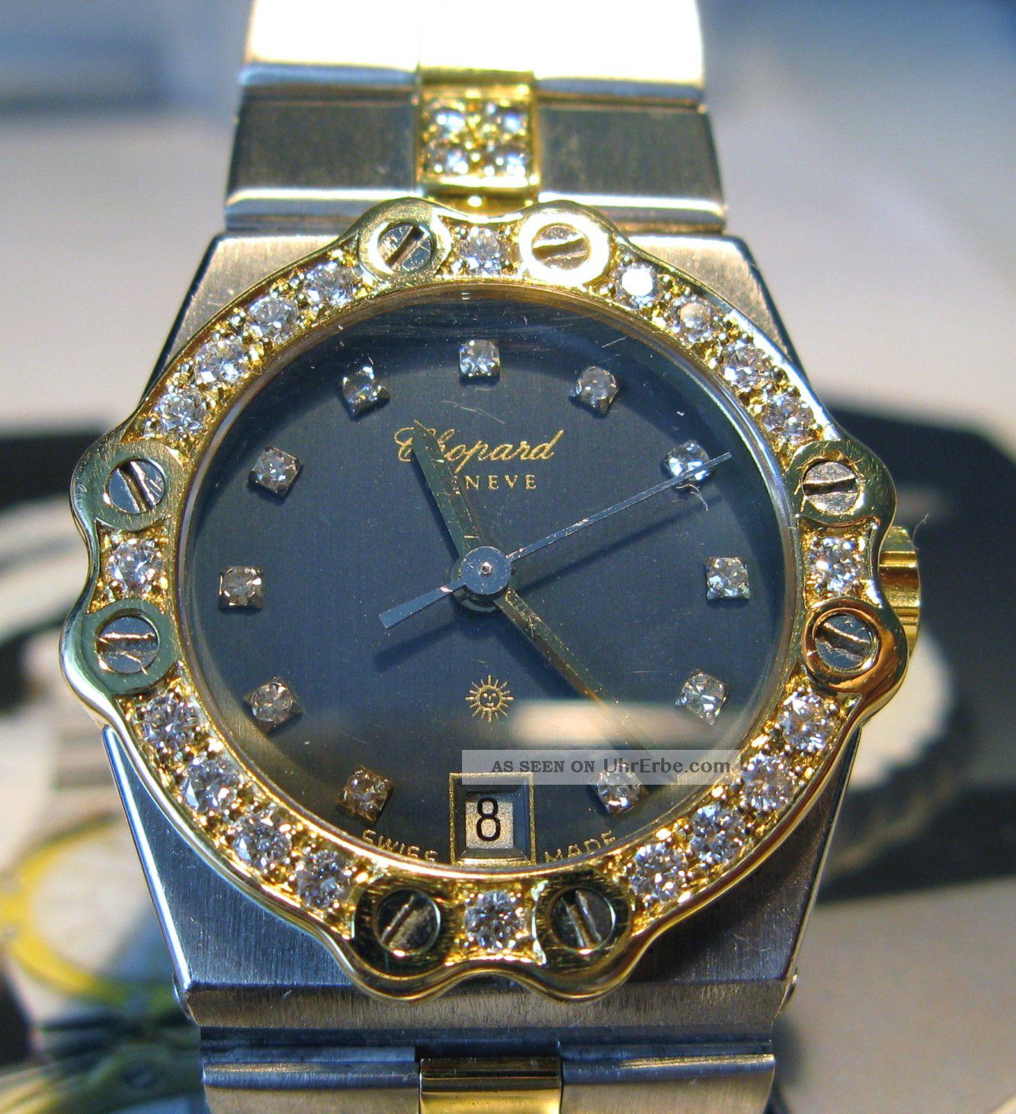 Damen Chopard St Moritz Uhr Stahl - Gold DiamantlÜnette In 18ct Gold Armbanduhren Bild