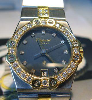 Damen Chopard St Moritz Uhr Stahl - Gold DiamantlÜnette In 18ct Gold Bild