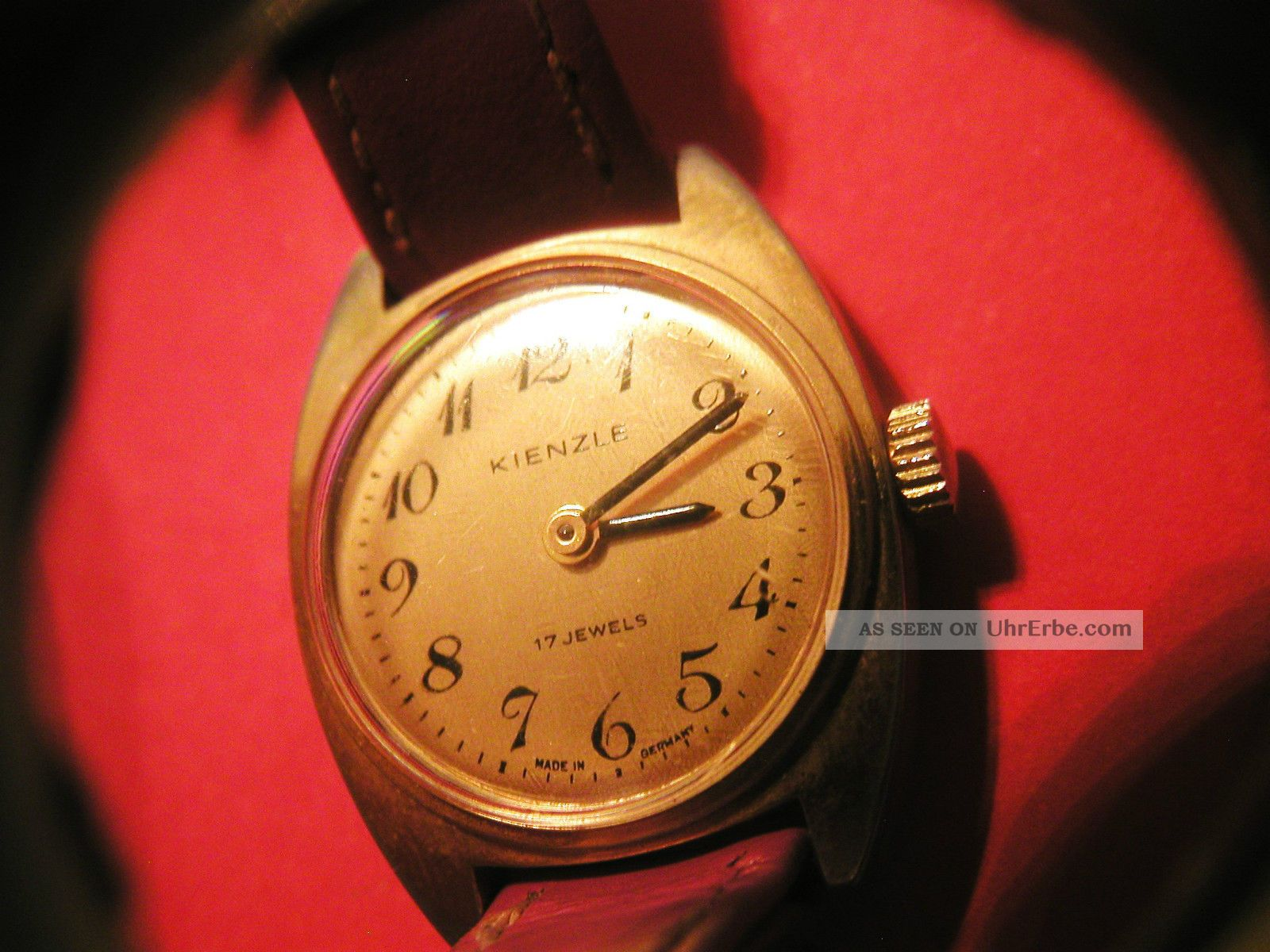 Armbanduhr Kienzle Damenuhr Läuft 17 Jewels Lederarmband Gold - Farbig Handaufzug Armbanduhren Bild