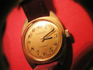 Armbanduhr Kienzle Damenuhr Läuft 17 Jewels Lederarmband Gold - Farbig Handaufzug Bild