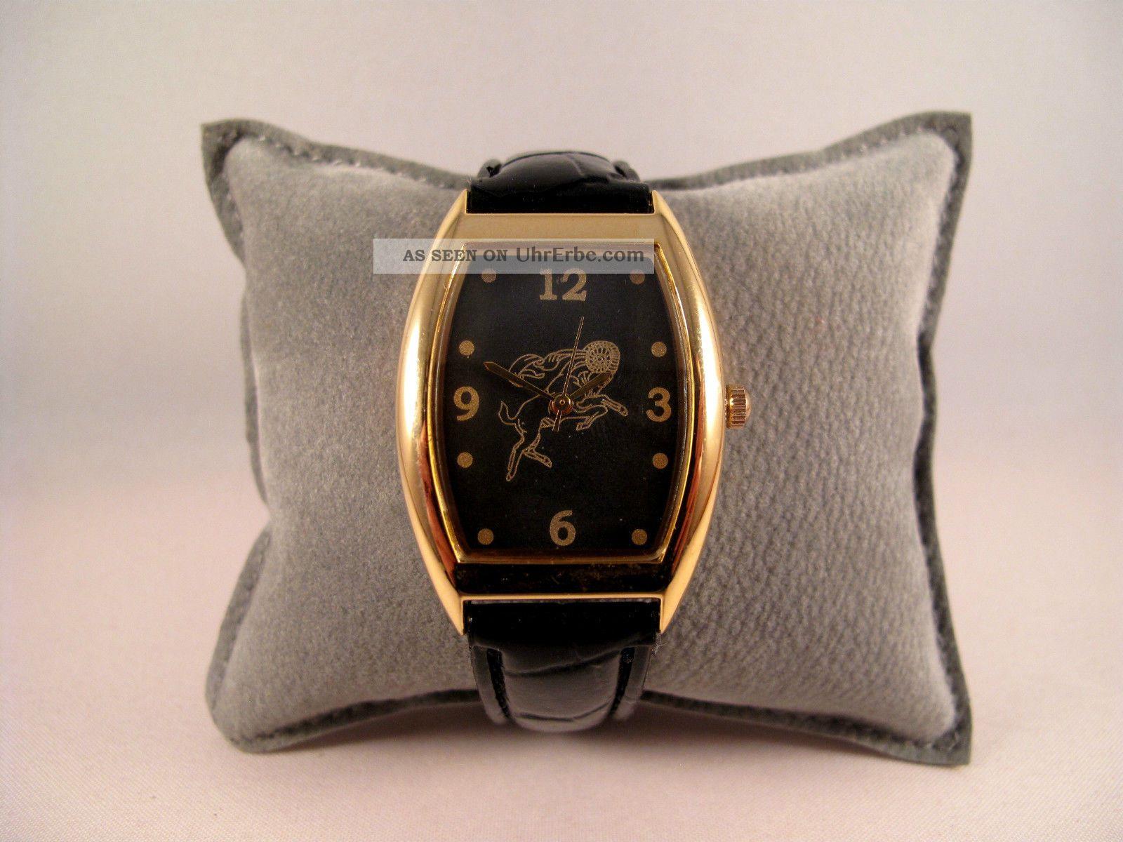 Armbanduhr,  Quartz,  Sternzeichen,  Widder,  Gold U.  Schwarz,  Armband Geprägt, Armbanduhren Bild