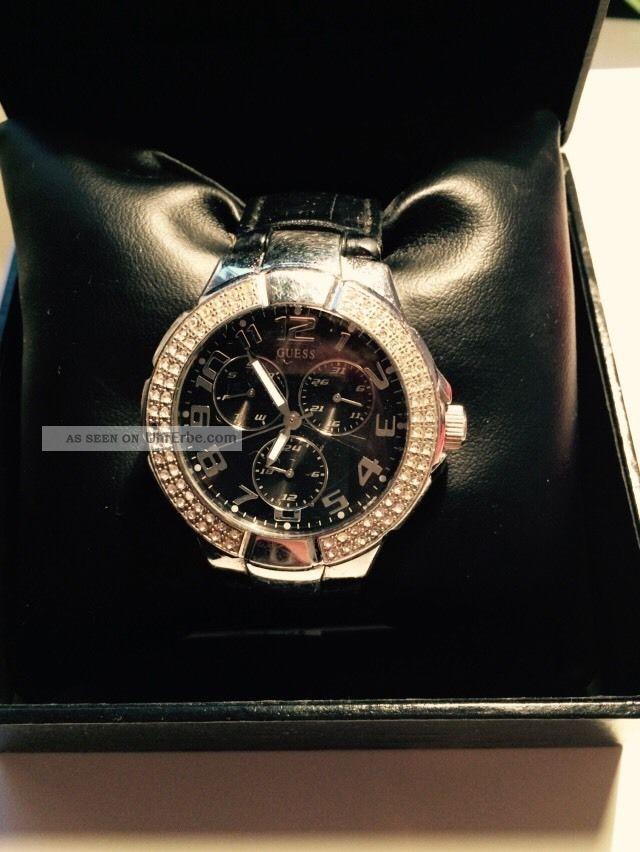 Guess Damenuhr Schwarz Silber Strass Armbanduhren Bild
