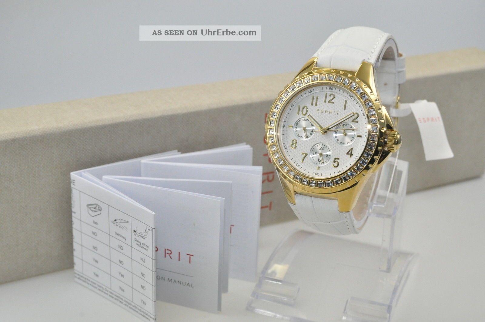 Esprit Es106622001 Benicia Gold White Damenuhr Tagesanzeige Uhr Uvp 149,  00€ Armbanduhren Bild