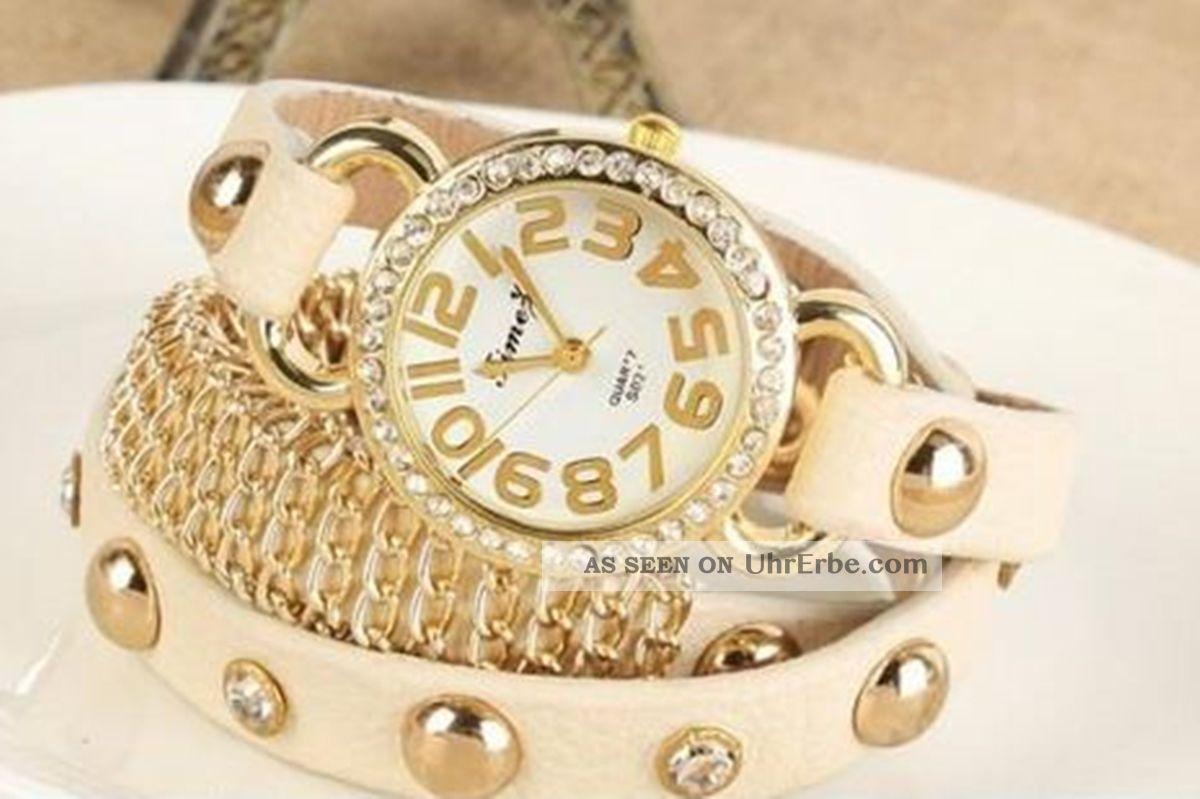 Damen Blogger Armbanduhr Beige Klein Geschenk Frauen Mode Glitzer Strass Armbanduhren Bild