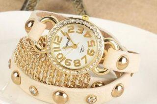 Damen Blogger Armbanduhr Beige Klein Geschenk Frauen Mode Glitzer Strass Bild