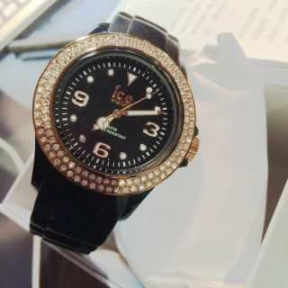 Ice - Watch Uhr St.  Bk.  S.  S.  09 Stone Black Small Schwarz Kautschukband Swarowski Bild