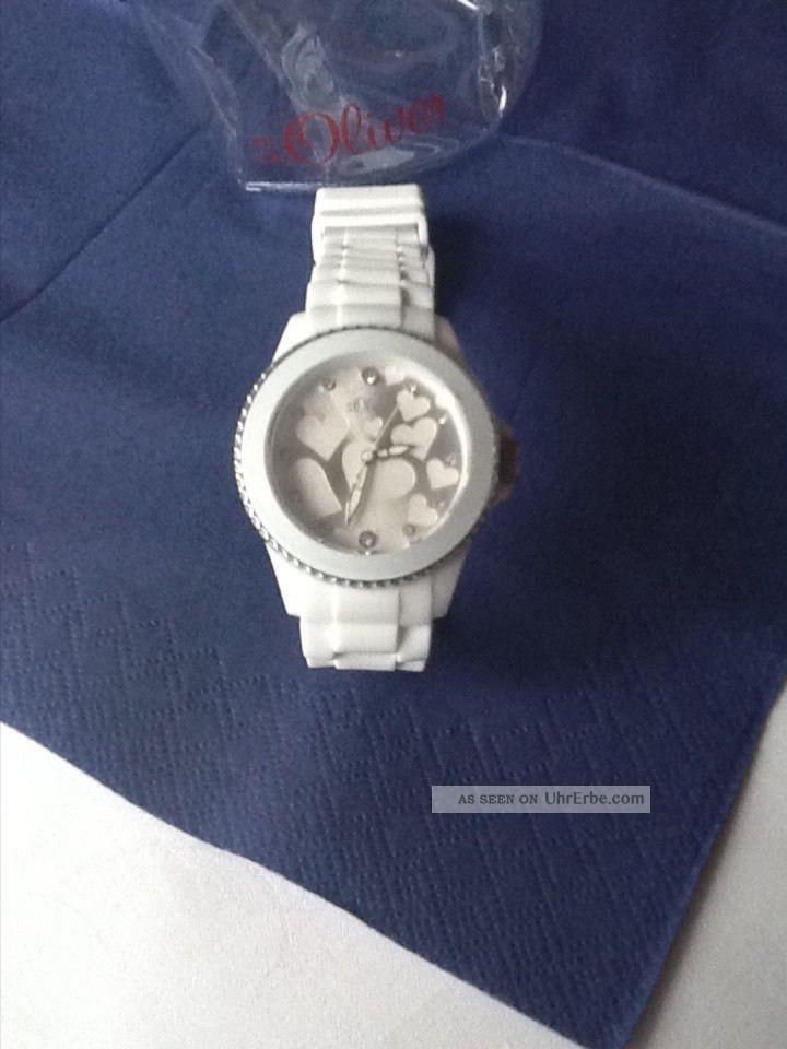 S.  Oliver Damen Uhr Damenuhr Uvp 49,  95€ Weiß Silber Herzen Strass So - 2419 - Pq Armbanduhren Bild