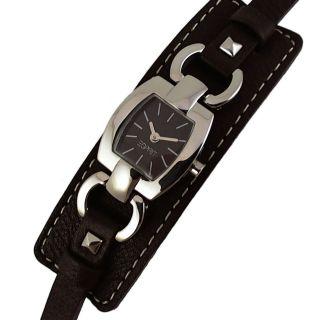 Esprit Damenuhr Dunkelbraun Leder Unterlegband Edelstahl Silbern Uhr Es000v12005 Bild