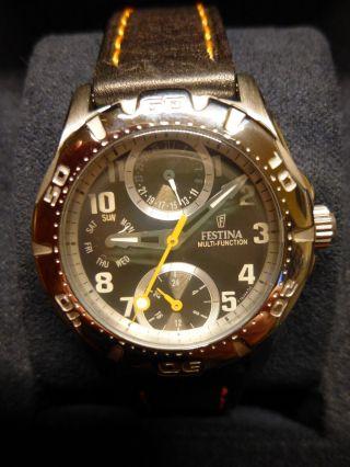 Festina Damen Armbanduhr F16244/c Nagelneu Und Ungetragen - Chrono Lederarmband Bild