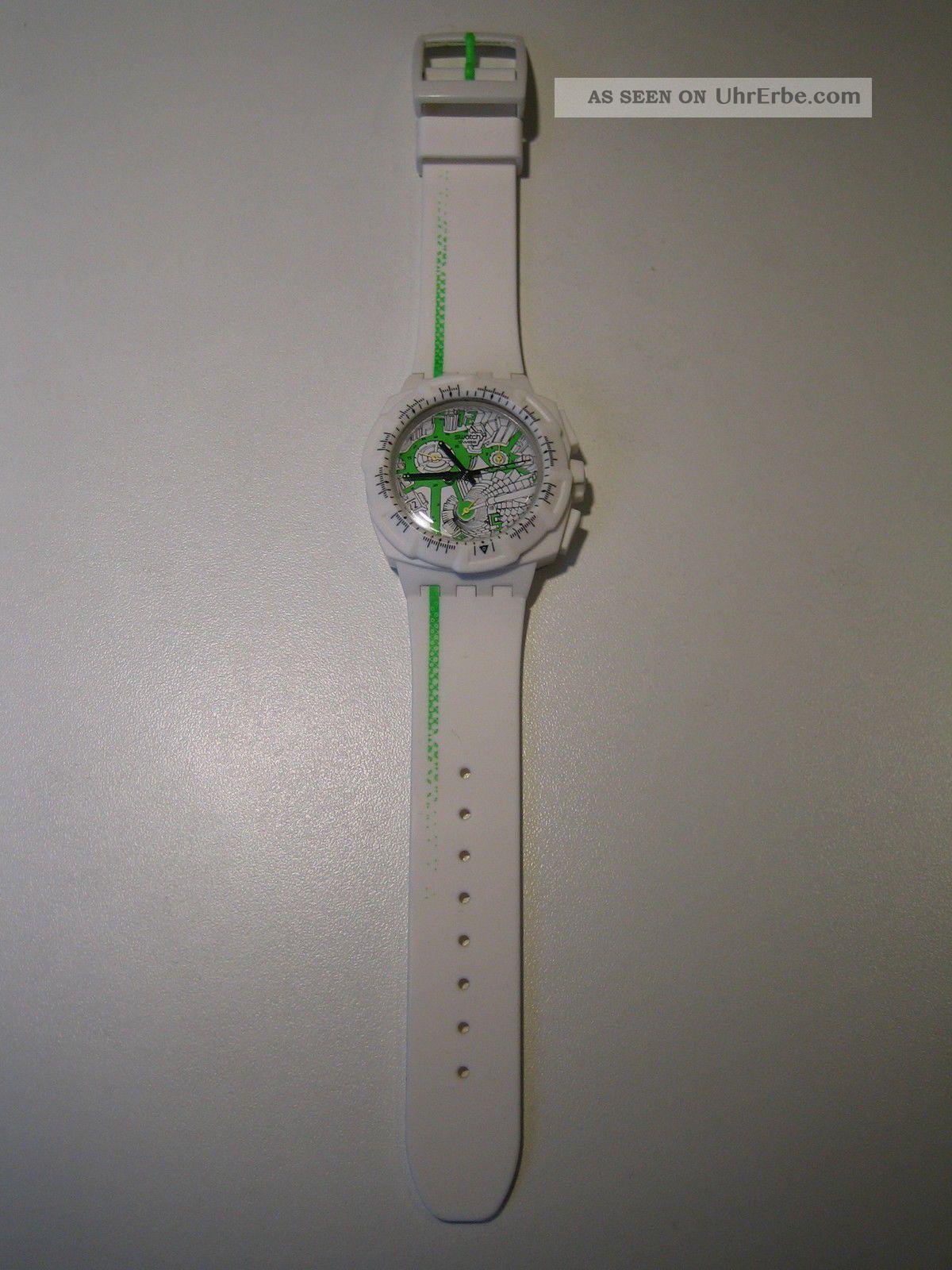Swatch Herren & Damen Uhr 43mm Weiß Kautschuk Armband Plastik GehÄuse Top Armbanduhren Bild