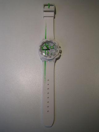 Swatch Herren & Damen Uhr 43mm Weiß Kautschuk Armband Plastik GehÄuse Top Bild