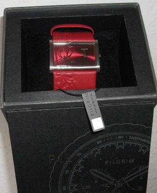 Pilgrim Armbanduhr Geschenk Zu Weihnachten In Rot,  Leder Und In Bild