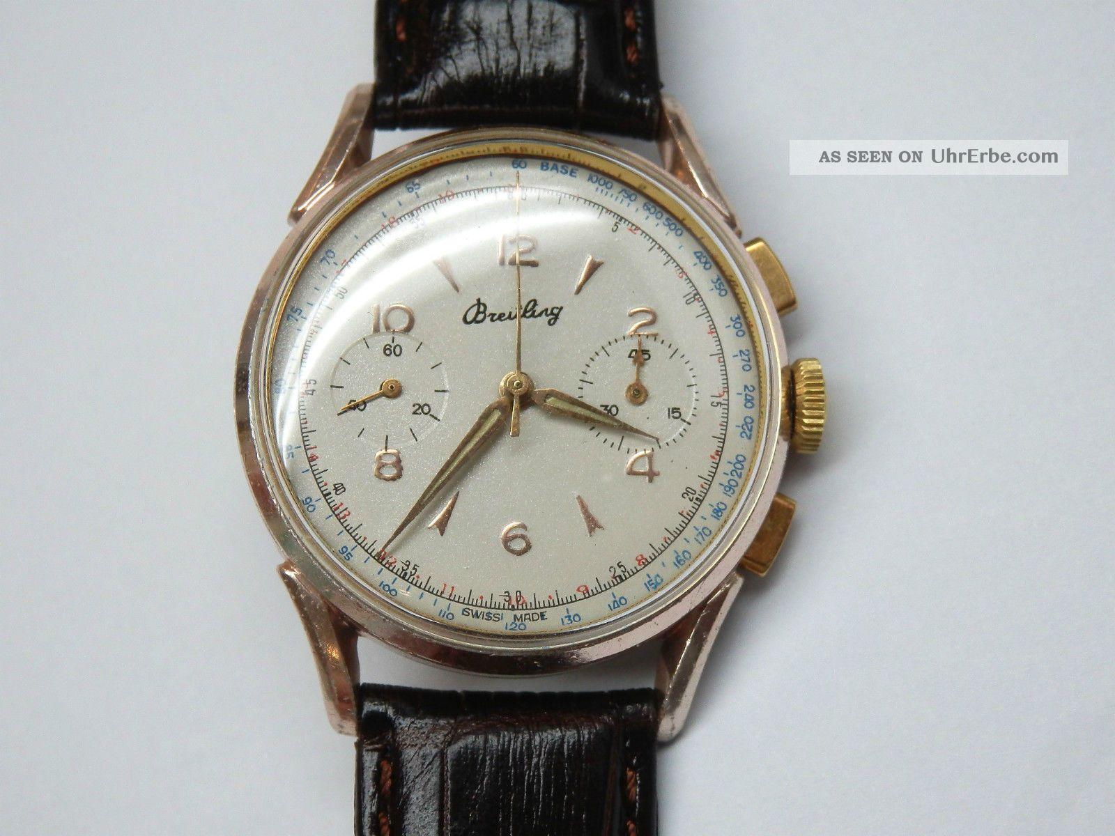 Vintage Breitling Aluminium Chronograph Uhr Kaliber Venus 188 Armbanduhren Bild