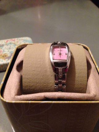Fossil - Uhr Silber Mit Rosa - Perlmutt Ziffernblatt Für Damen Mit Schmuckdose Bild