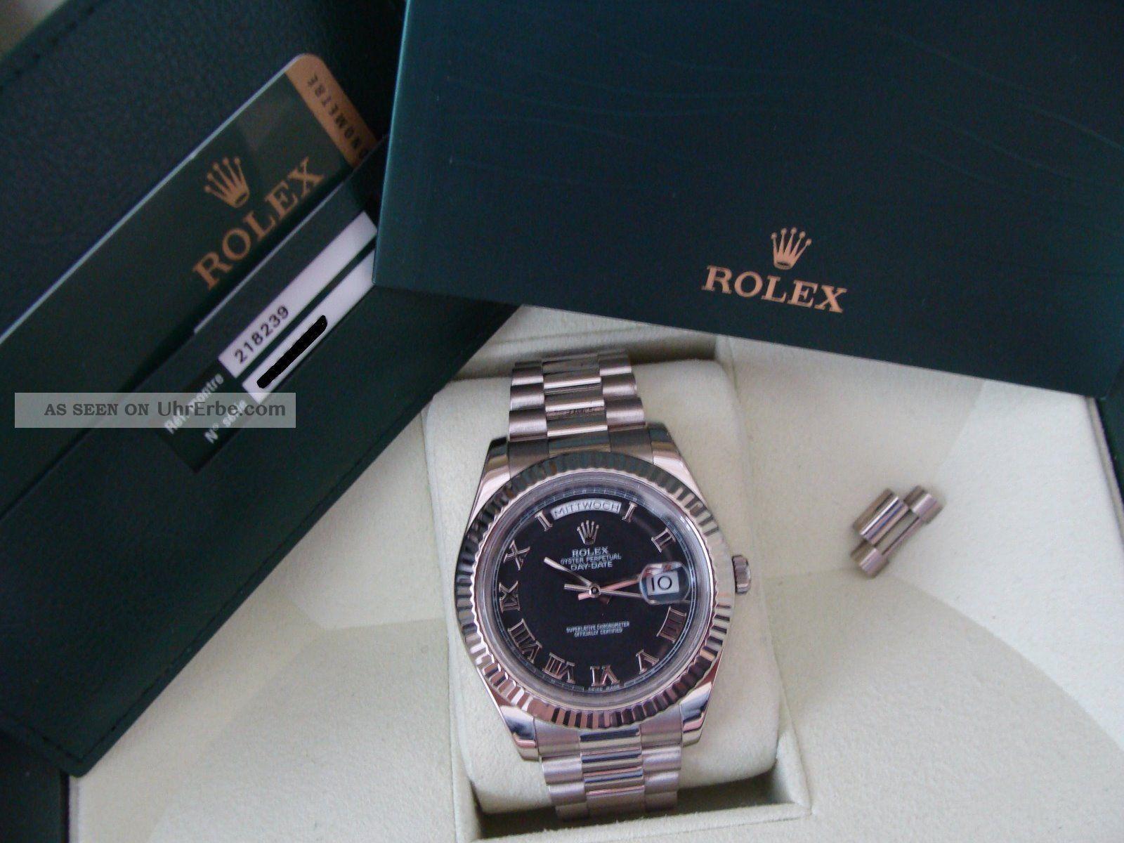 Rolex Große Day - Date Weißgold Daydate Ii Ref.  218239 Armbanduhren Bild