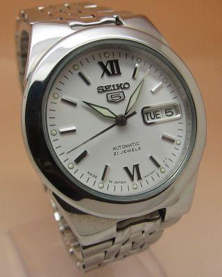 Seiko 5 Durchsichtig Mechanische Automatik Uhr 7s26 - 02v0 21 Jewels Datum & Tag Bild