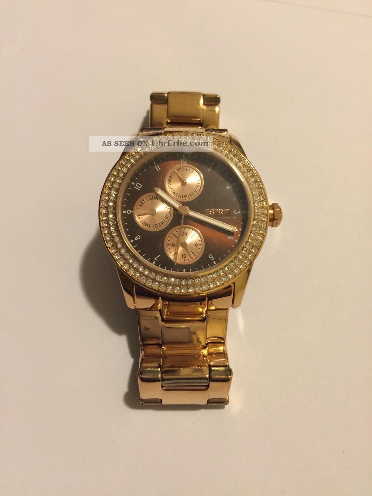 Goldene Esprit Damenuhr Braunes Ziffernblatt Armbanduhren Bild