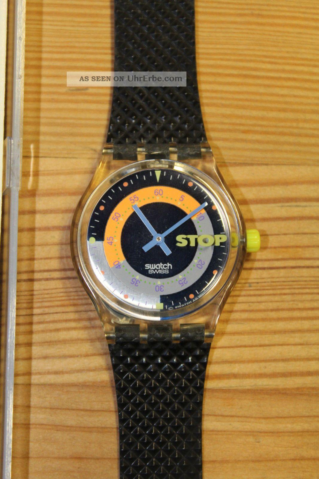 Swatch Stopuhr Coffebreak Ssk100 Ovp Armbanduhren Bild