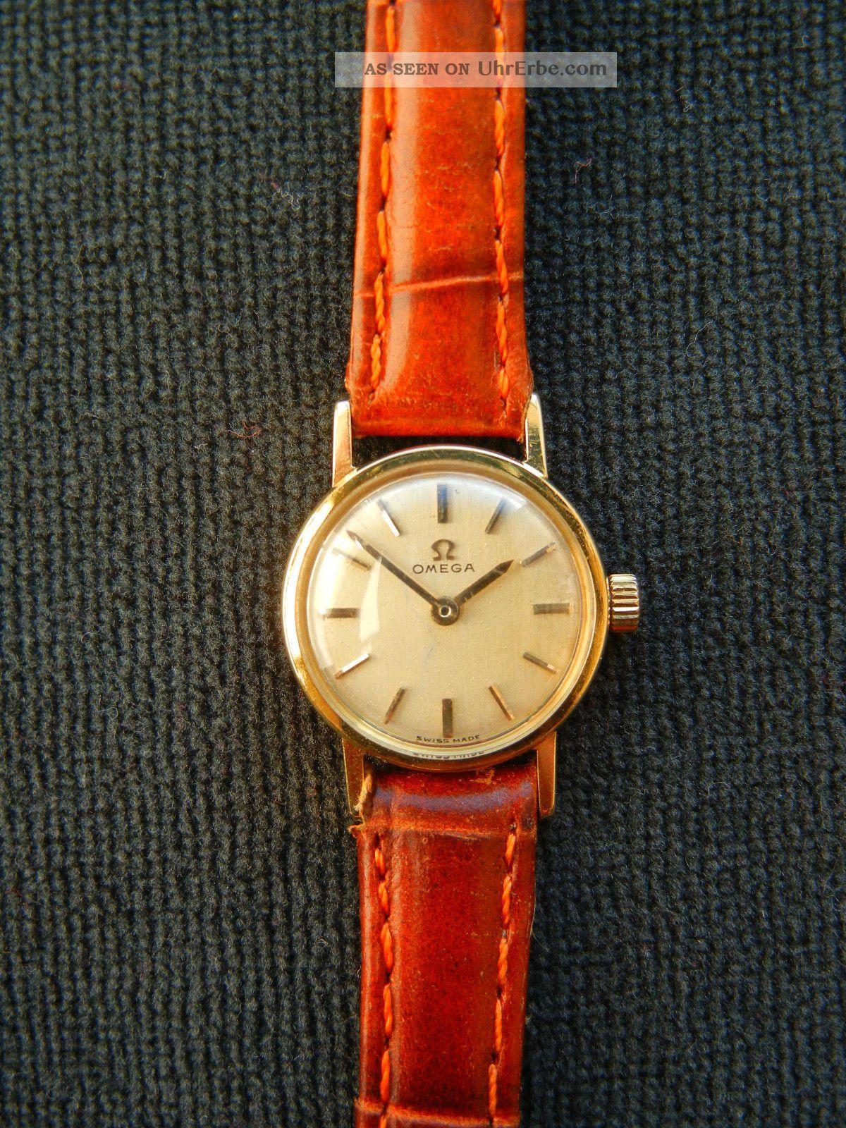 Omega Damenuhr,  18 Karat Gold,  Handaufzug,  Funktioniert Armbanduhren Bild