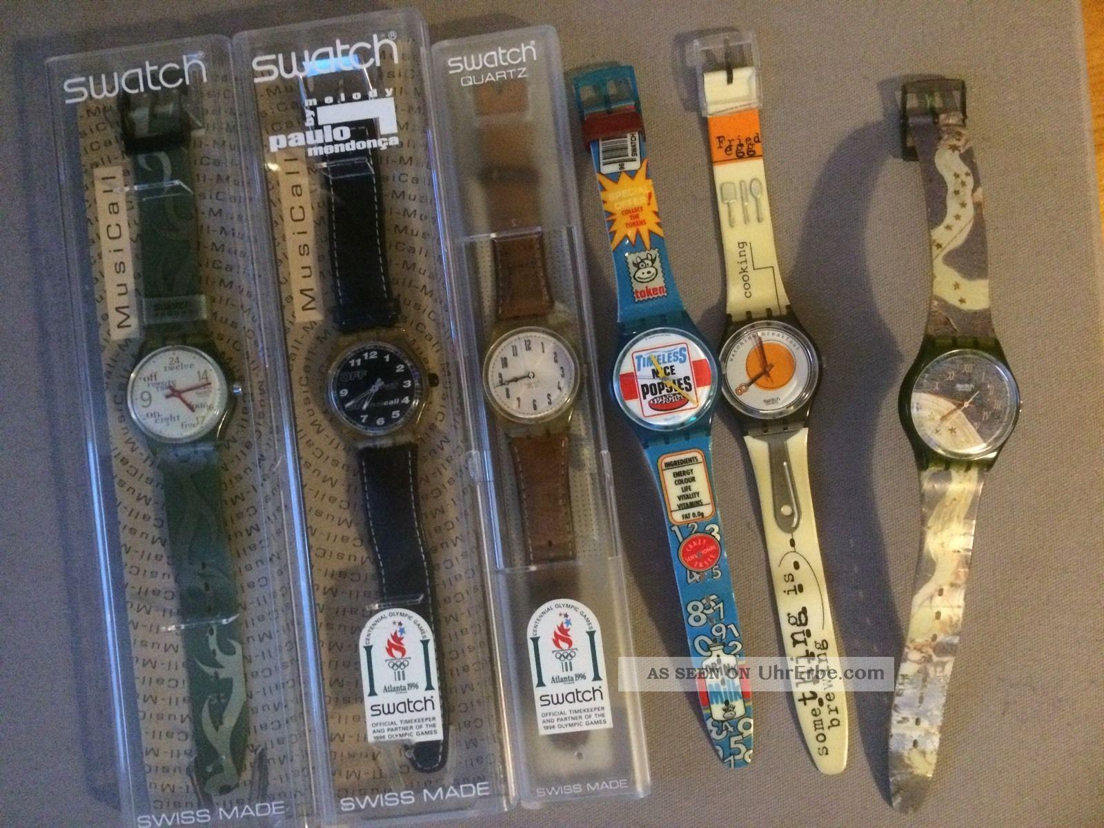 Swatch Uhr 6 Stück Sammler Bastler Liebhaber Musicall Quartz 96 98 Armbanduhren Bild