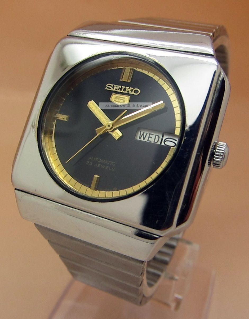 Seiko 5 Square Tv 6309 - 5230 Mechanische Automatik Uhr Datum & Taganzeige Armbanduhren Bild