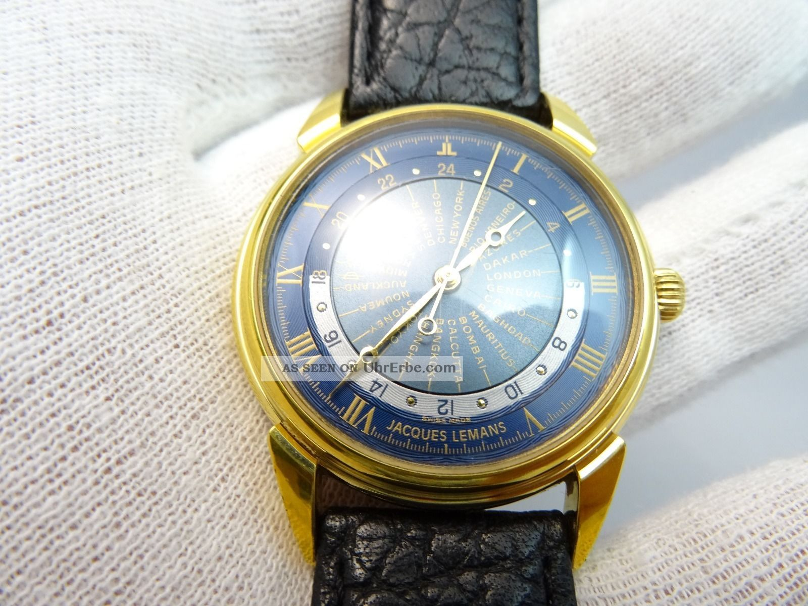 Jacques Lemans Herrenarmbanduhr,  Automatic,  Blaues Weltzeitzifferblatt Armbanduhren Bild