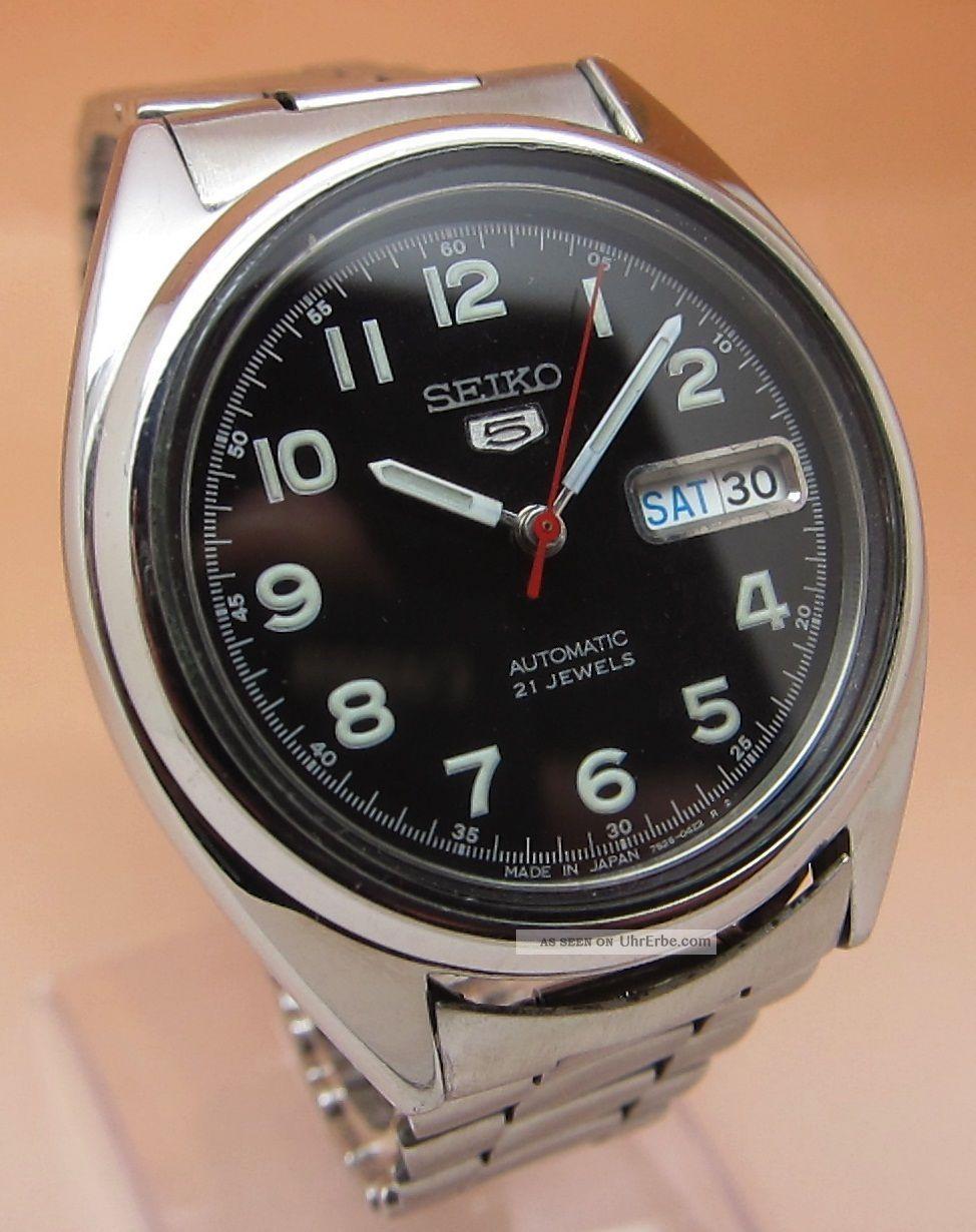 Seiko 5 Durchsichtig Automatik Uhr 7s26 - 0470 21 Jewels Datum & Tag Armbanduhren Bild