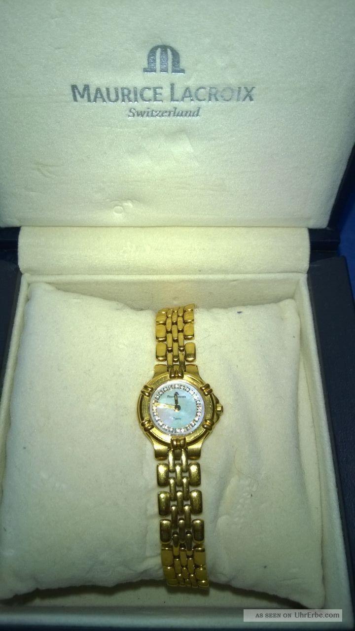 Luxusuhr; Damen,  Goldfarbend,  Maurice Lacroix,  Rund Armbanduhren Bild
