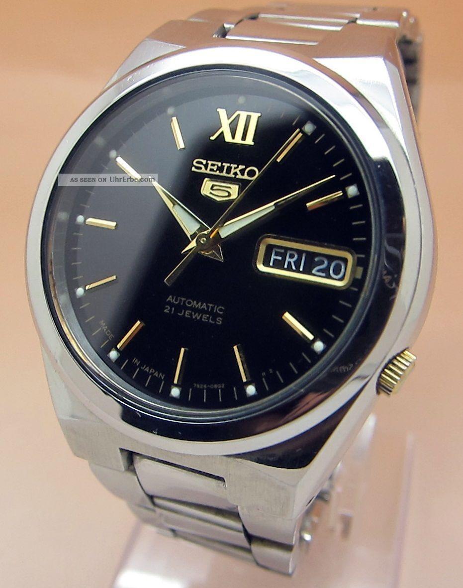 Seiko 5 7s26 - 02s0 Glasboden Automatik Uhr 21 Jewels Datum & Taganzeige Armbanduhren Bild