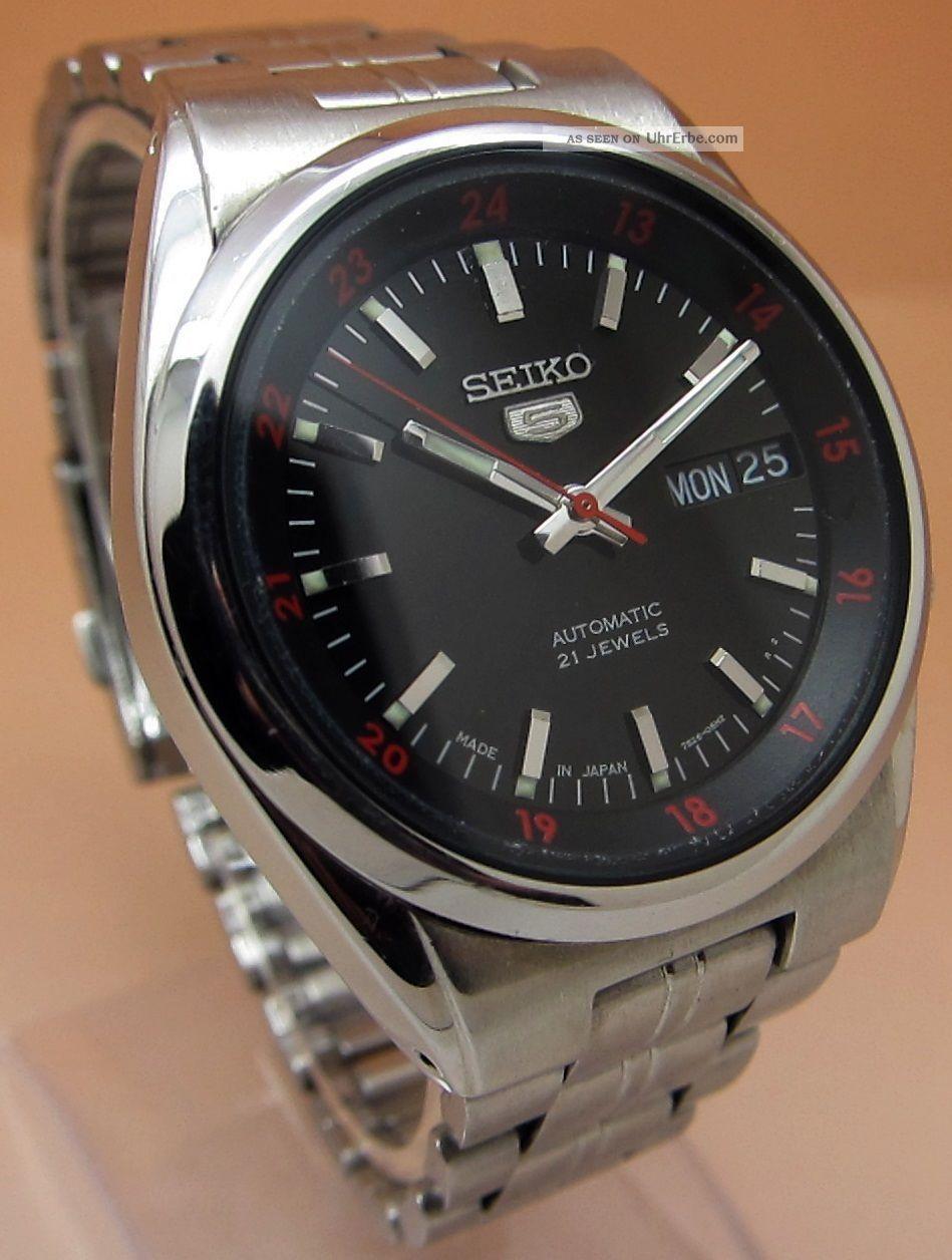 Seiko 5 Durchsichtig Automatik Uhr 7s26 - 02c0 21 Jewels Datum & Tag Armbanduhren Bild