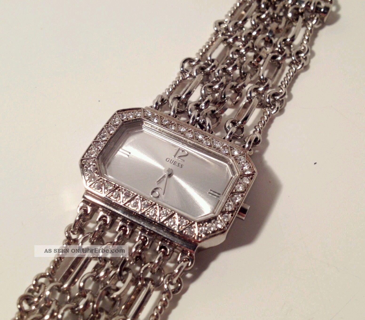 Guess Damen Armband Uhr Kettenuhr Strass Nur 1 Tag Armbanduhren Bild