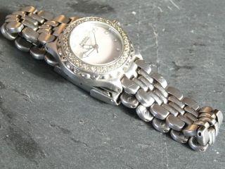 Damenuhr Fossil Mit Strass Edelstahl Armbanduhr Neue Batterie Bild