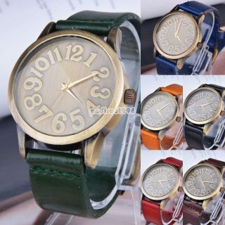 Mode Quarz - Armbanduhr Damen Herren Größe Kunstleder Uhrenliebhaber Wahl C8 Bild