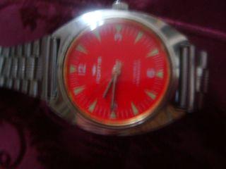 Fortis Handaufzug 17 Jewels Rotes Ziffeernblatt 36 Mm Bild