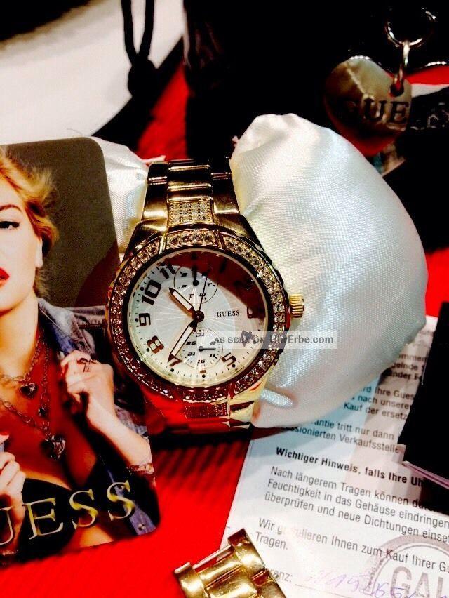 Neuwertige Guess Damenuhr In Gold Armbanduhren Bild
