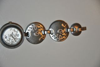 Fossil Damenuhr Armbanduhr Edelstahl Vintage Silber Braun Holzoptik Bild