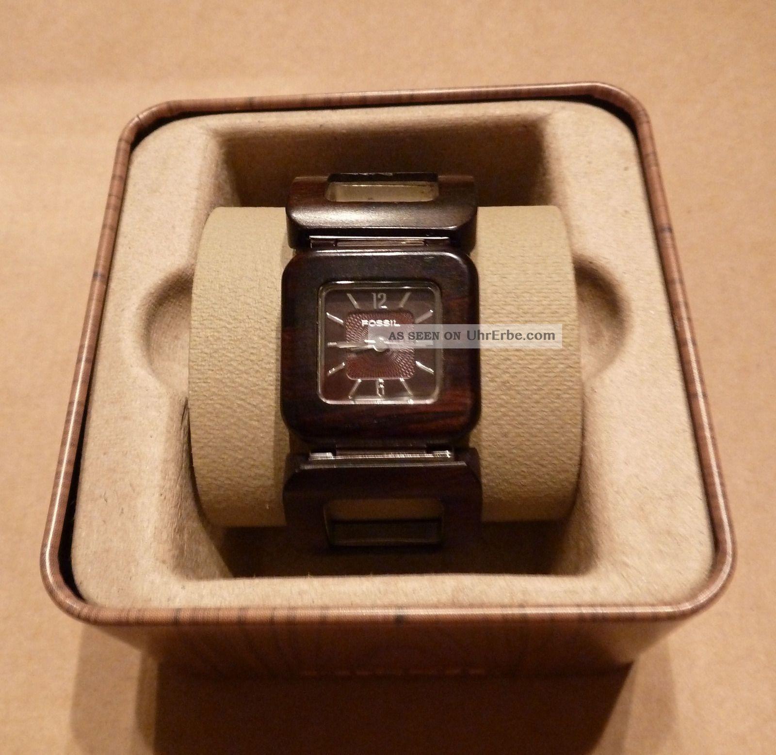 Fossil Armbanduhr Damen Holz ~ Fossil Damen Uhr Braun Holz Armbanduhren Bild