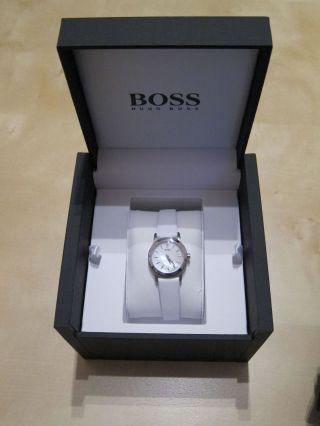 Hugo Boss 1502356 Uhr Damenuhr Lederarmband Edelstahl Analog Weiss Bild