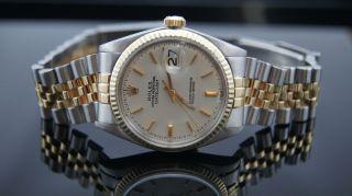 Rolex Oyster Datejust 36 Mm Stahl Gold 1570 18k Herren Uhr Vintage Box Ref 1603 Bild